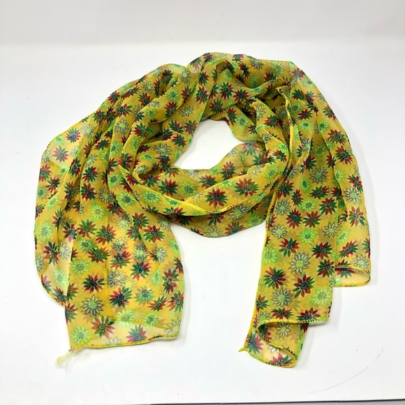 Accessories - Yellow Floral Lightweight Scarf